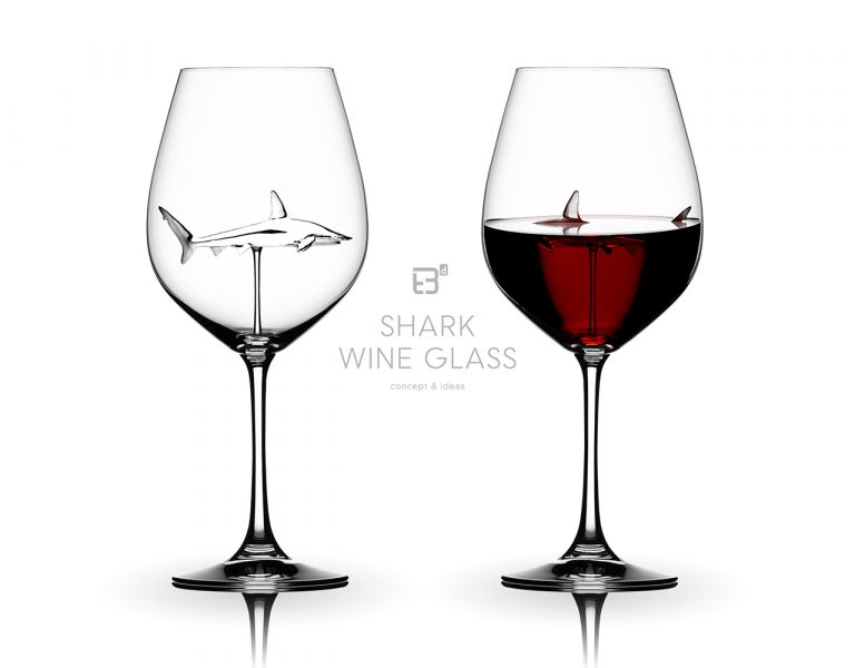 shark wine glass idea & concept