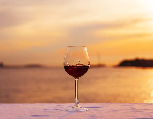 shark wine glass with sunset