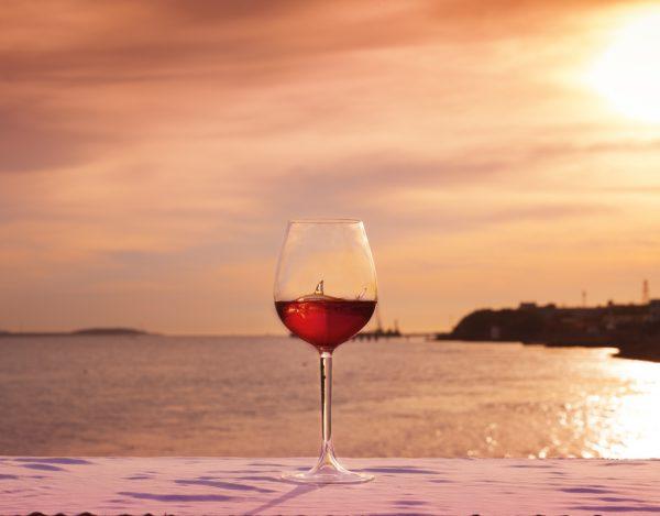 shark wine glass with sunset